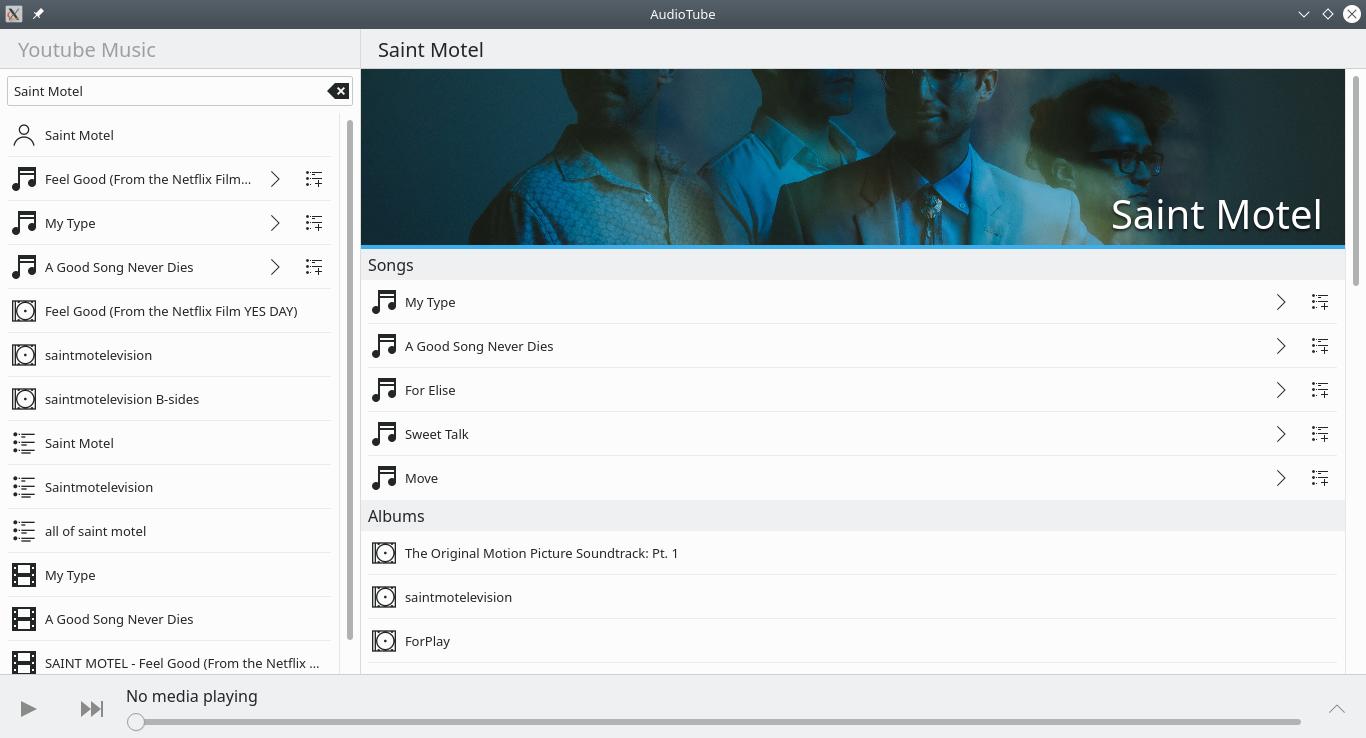 AudioTube on the desktop
